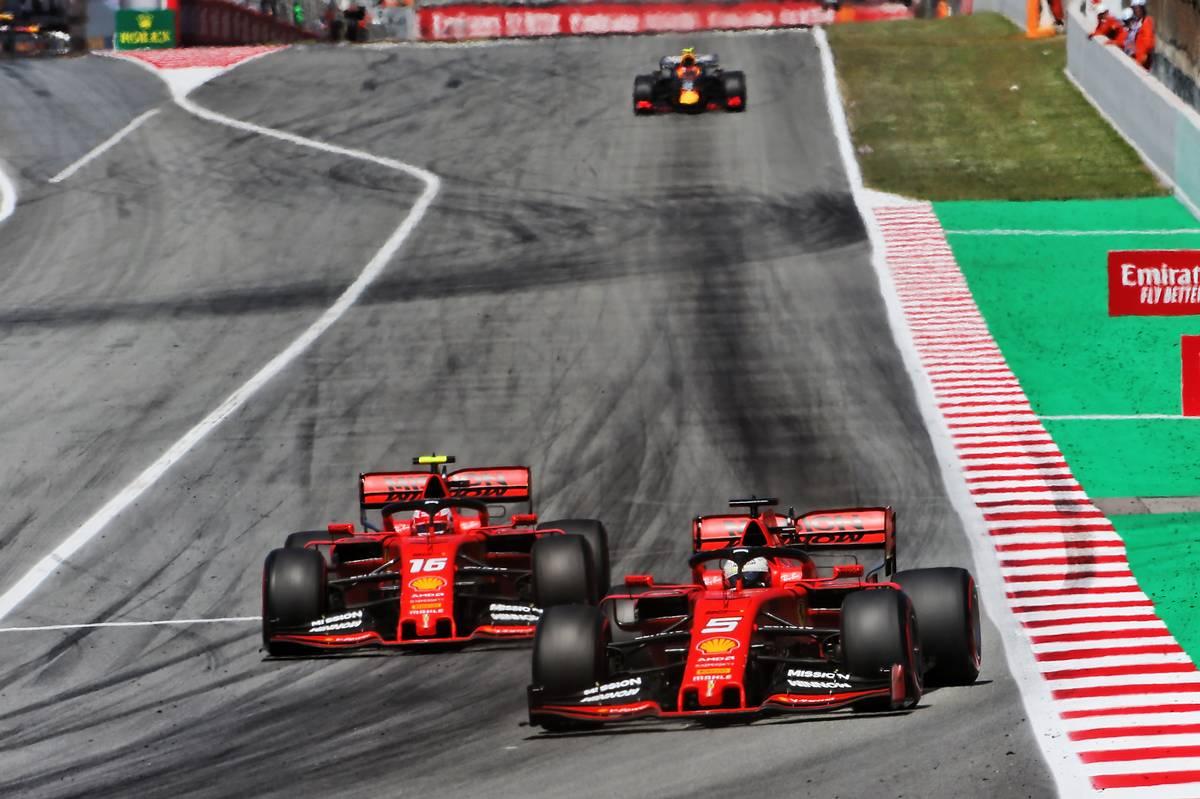 Sebastian Vettel (GER) Ferrari SF90 leads team mate Charles Leclerc (MON) Ferrari SF90.