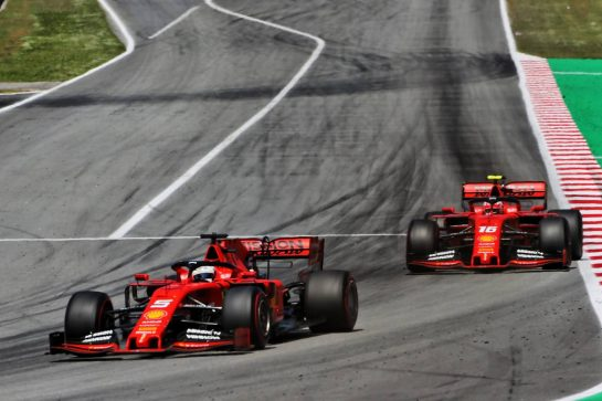 Sebastian Vettel (GER) Ferrari SF90 leads Charles Leclerc (MON) Ferrari SF90. 12.05.2019. Formula 1 World Championship, Rd 5, Spanish Grand Prix, Barcelona, Spain, Race Day. - www.xpbimages.com, EMail: requests@xpbimages.com - copy of publication required for printed pictures. Every used picture is fee-liable. © Copyright: Charniaux / XPB Images