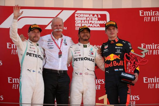 1st place Lewis Hamilton (GBR) Mercedes AMG F1 W10, 2nd Valtteri Bottas (FIN) Mercedes AMG F1, 3rd place Max Verstappen (NLD) Red Bull Racing RB15 and Dr. Dieter Zetsche (GER) as Daimler AG CEO. 12.05.2019. Formula 1 World Championship, Rd 5, Spanish Grand Prix, Barcelona, Spain, Race Day. - www.xpbimages.com, EMail: requests@xpbimages.com - copy of publication required for printed pictures. Every used picture is fee-liable. © Copyright: Batchelor / XPB Images