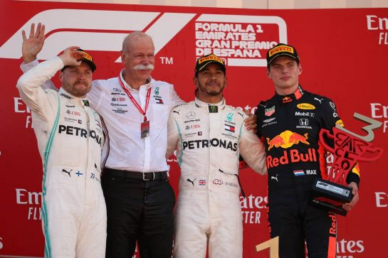 1st place Lewis Hamilton (GBR) Mercedes AMG F1 W10, 2nd Valtteri Bottas (FIN) Mercedes AMG F1, 3rd place Max Verstappen (NLD) Red Bull Racing RB15 and Dr. Dieter Zetsche (GER) as Daimler AG CEO.