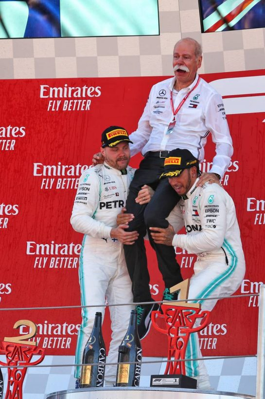The podium (L to R): Valtteri Bottas (FIN) Mercedes AMG F1, second; Dr. Dieter Zetsche (GER) Daimler AG CEO; Lewis Hamilton (GBR) Mercedes AMG F1, race winner.