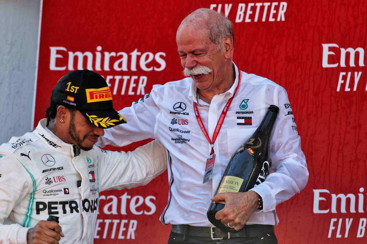 The podium: race winner Lewis Hamilton (GBR) Mercedes AMG F1 celebrates with Dr. Dieter Zetsche (GER) Daimler AG CEO. 12.05.2019