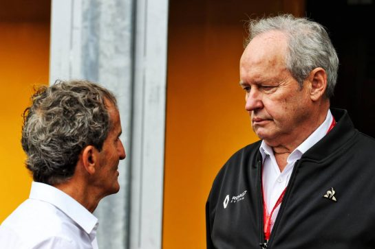 (L to R): Alain Prost (FRA) Renault F1 Team Special Advisor with Jerome Stoll (FRA) Renault Sport F1 President.