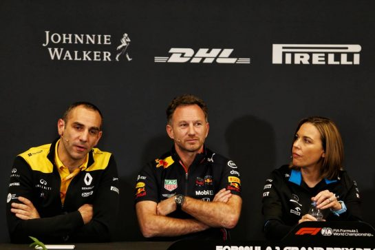 The FIA Press Conference (L to R): Cyril Abiteboul (FRA) Renault Sport F1 Managing Director; Christian Horner (GBR) Red Bull Racing Team Principal; Claire Williams (GBR) Williams Racing Deputy Team Principal.