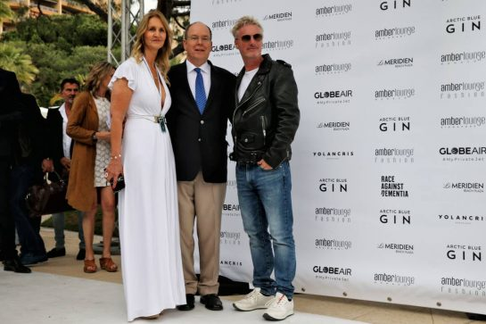 (L to R): Sonia Irvine; HSH Prince Albert of Monaco (MON); and Eddie Irvine (GBR), at the Amber Lounge Fashion Show.