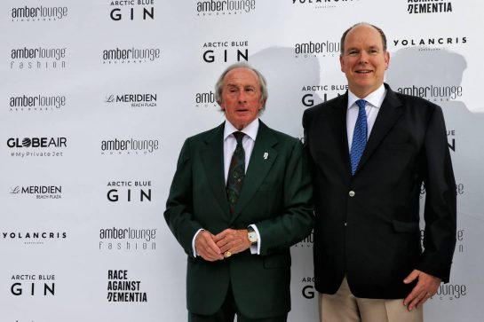 (L to R): Jackie Stewart (GBR) and HSH Prince Albert of Monaco (MON) at the Amber Lounge Fashion Show.