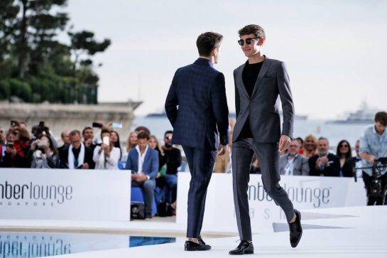 (L to R): Charles Leclerc (MON) Ferrari and George Russell (GBR) Williams Racing at the Amber Lounge Fashion Show.