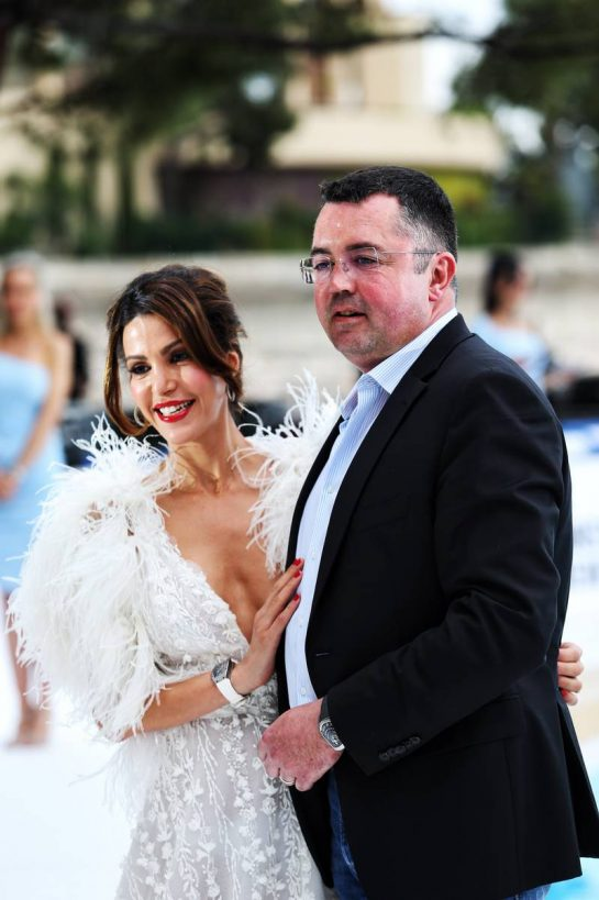 Eric Boullier (FRA) with wife Tamara at the Amber Lounge Fashion Show.