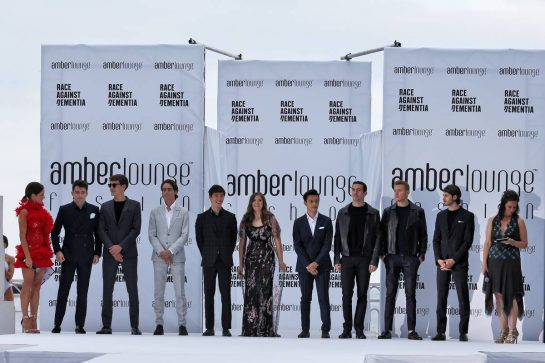The Amber Lounge Fashion Show (L to R): Natalie Pinkham (GBR) Sky Sports Presenter; Charles Leclerc (MON) Ferrari; George Russell (GBR) Williams Racing; Esteban Gutierrez (MEX) Mercedes AMG F1; Jack Aitken (GBR) / (KOR) Renault F1 Team Test Driver; Tatiana Calderon (COL) Alfa Romeo Racing Development Driver; Guanyu Zhou (CHN) Renault F1 Team Test and Development Driver; Nicholas Latifi (CDN) Williams Racing Test and Development Driver; Sergey Sirotkin (RUS) Renault F1 Team Reserve Driver; Antonio Giovinazzi (ITA) Alfa Romeo Racing; Lee McKenzie (GBR).