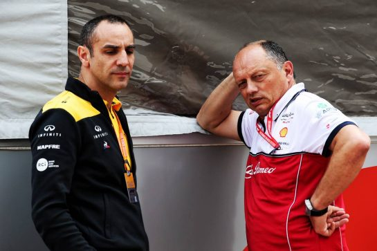 (L to R): Cyril Abiteboul (FRA) Renault Sport F1 Managing Director with Frederic Vasseur (FRA) Alfa Romeo Racing Team Principal. 25.05.2019. Formula 1 World Championship, Rd 6, Monaco Grand Prix, Monte Carlo, Monaco, Qualifying Day. - www.xpbimages.com, EMail: requests@xpbimages.com - copy of publication required for printed pictures. Every used picture is fee-liable. © Copyright: Batchelor / XPB Images