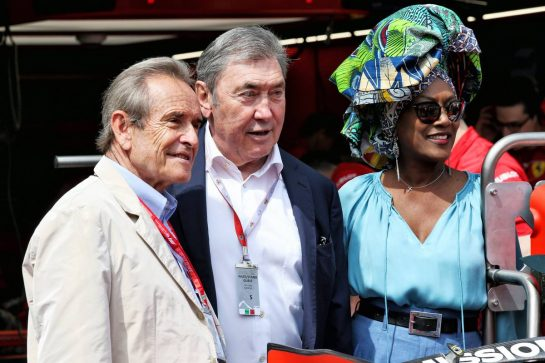 Jacky Ickx (BEL) (Left) with his wife Khadja Nin (BUR) (Right) and Eddy Merckx (BEL) Former Cyclist.