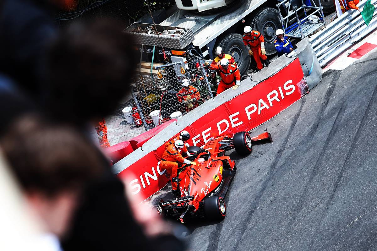 Sebastian Vettel (GER) Ferrari SF90 crashed in the third practice session.