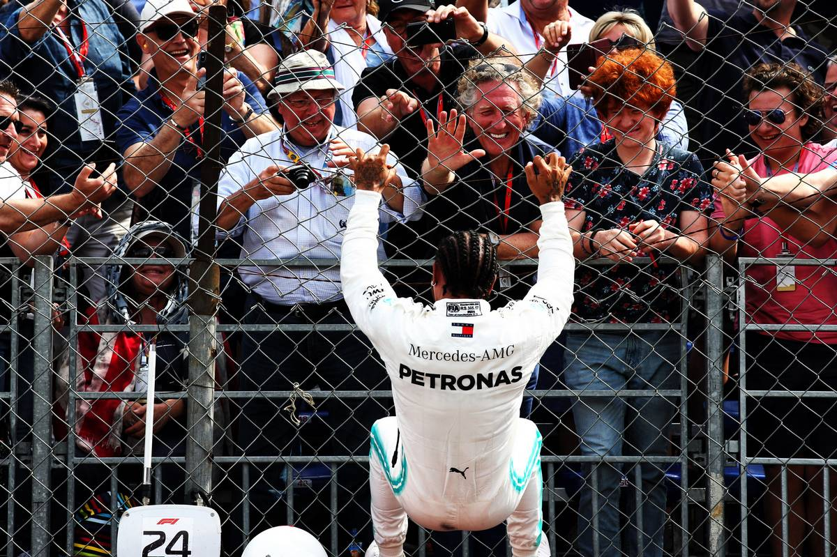 Race winner Lewis Hamilton (GBR) Mercedes AMG F1 celebrates in qualifying parc ferme.