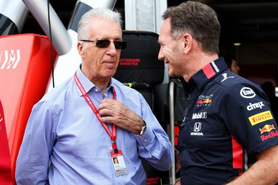 (L to R): Piero Ferrari (ITA) Ferrari Vice-President with Christian Horner (GBR) Red Bull Racing Team Principal. 25.05.2019. Formula 1 World Championship, Rd 6, Monaco Grand Prix, Monte Carlo, Monaco, Qualifying Day. - www.xpbimages.com, EMail: requests@xpbimages.com - copy of publication required for printed pictures. Every used picture is fee-liable. © Copyright: Batchelor / XPB Images