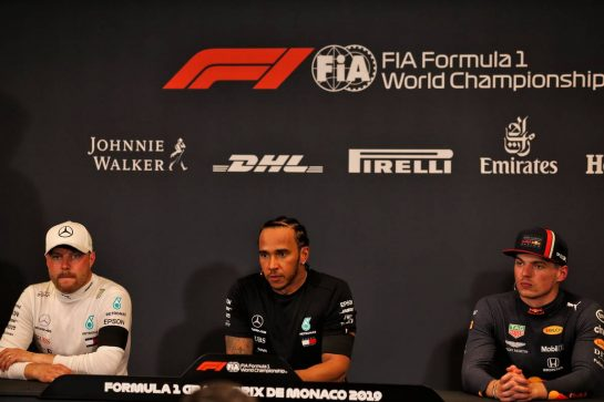 The post qualifying FIA Press Conference (L to R): Valtteri Bottas (FIN) Mercedes AMG F1, second; Lewis Hamilton (GBR) Mercedes AMG F1, pole position; Max Verstappen (NLD) Red Bull Racing, third.