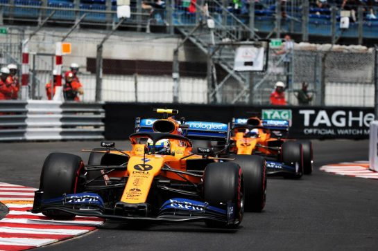 Lando Norris (GBR) McLaren MCL34 leads team mate Carlos Sainz Jr (ESP) McLaren MCL34. 25.05.2019. Formula 1 World Championship, Rd 6, Monaco Grand Prix, Monte Carlo, Monaco, Qualifying Day. - www.xpbimages.com, EMail: requests@xpbimages.com - copy of publication required for printed pictures. Every used picture is fee-liable. © Copyright: Photo4 / XPB Images