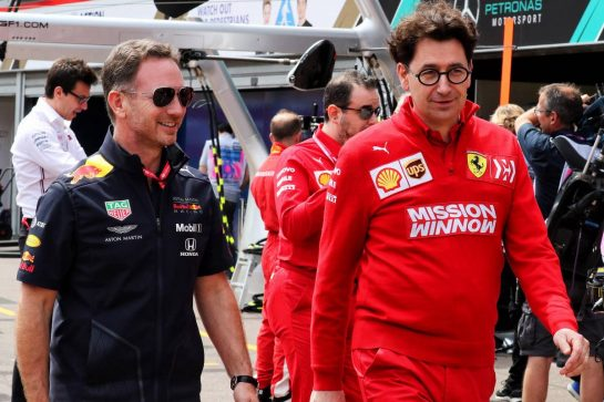 (L to R): Christian Horner (GBR) Red Bull Racing Team Principal with Mattia Binotto (ITA) Ferrari Team Principal.