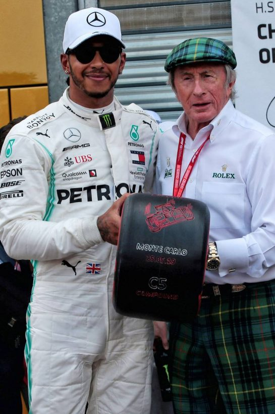 Lewis Hamilton (GBR) Mercedes AMG F1 receives the Pirelli Pole Position award from Jackie Stewart (GBR) in qualifying parc ferme. 25.05.2019. Formula 1 World Championship, Rd 6, Monaco Grand Prix, Monte Carlo, Monaco, Qualifying Day. - www.xpbimages.com, EMail: requests@xpbimages.com - copy of publication required for printed pictures. Every used picture is fee-liable. © Copyright: Photo4 / XPB Images