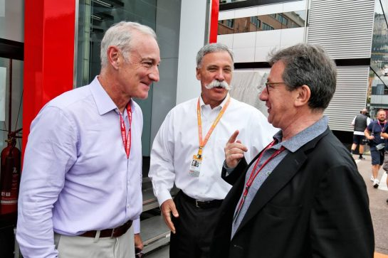 (L to R): Greg Maffei (USA) Liberty Media Corporation President and Chief Executive Officer with Chase Carey (USA) Formula One Group Chairman and Louis Camilleri (ITA) Ferrari Chief Executive Officer.