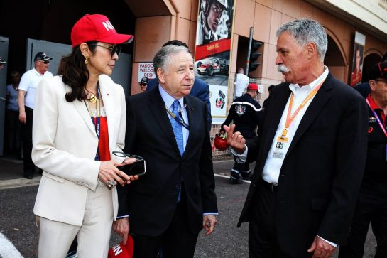 (L to R): Michelle Yeoh (MAL) with Jean Todt (FRA) FIA President and Chase Carey (USA) Formula One Group Chairman.