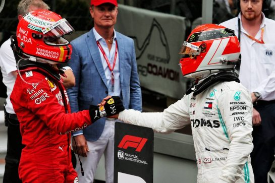 (L to R): Sebastian Vettel (GER) Ferrari celebrates his second position with race winner Lewis Hamilton (GBR) Mercedes AMG F1.