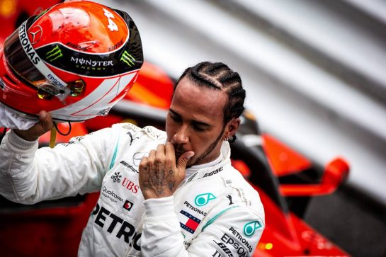 Race winner Lewis Hamilton (GBR) Mercedes AMG F1 celebrates in parc ferme.