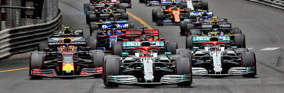Lewis Hamilton (GBR) Mercedes AMG F1 W10 leads at the start of the race