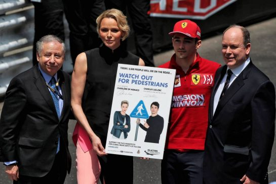 (L to R): Jean Todt (FRA) FIA President; Princess Charlene of Monaco; Charles Leclerc (MON) Ferrari; HSH Prince Albert of Monaco (MON).