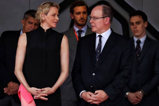 (L to R): Princess Charlene of Monaco and HSH Prince Albert of Monaco (MON) on the podium.