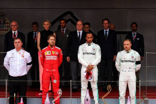 The podium (L to R): Ron Meadows (GBR) Mercedes GP Team Manager; Sebastian Vettel (GER) Ferrari second; Lewis Hamilton (GBR) Mercedes AMG F1, race winner; Valtteri Bottas (FIN) Mercedes AMG F1, third.