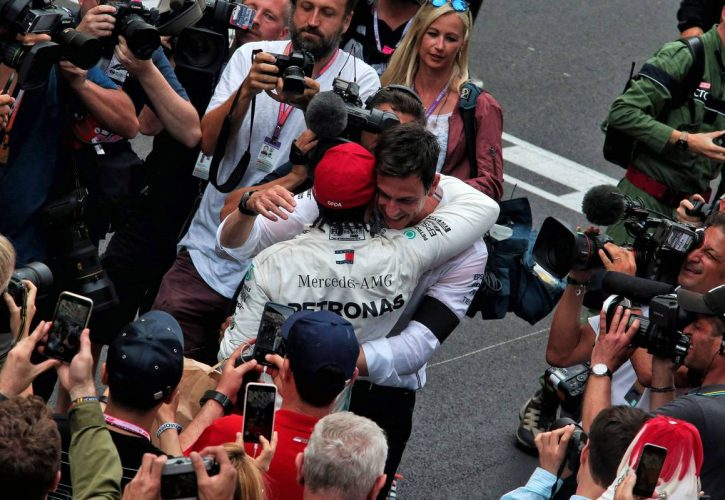 Race winner Lewis Hamilton (GBR) Mercedes AMG F1 celebrates at the podium with Toto Wolff (GER)