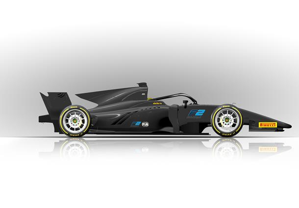 Formula 2 Car with 18-inch tyres for 2020.