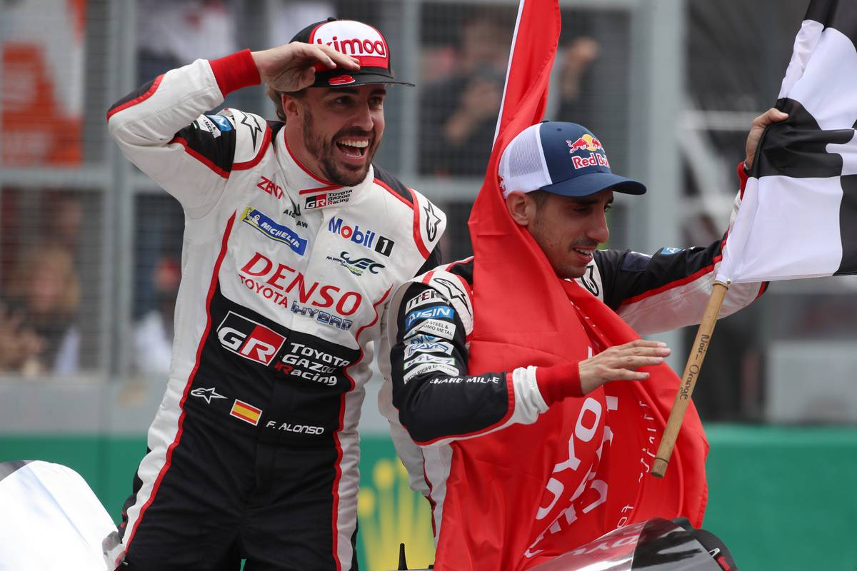 Race winners Fernando Alonso (ESP) and Sebastien Buemi (SUI) #08 Toyota Gazoo Racing Toyota TS050 Hybrid, celebrate at the end of the race.