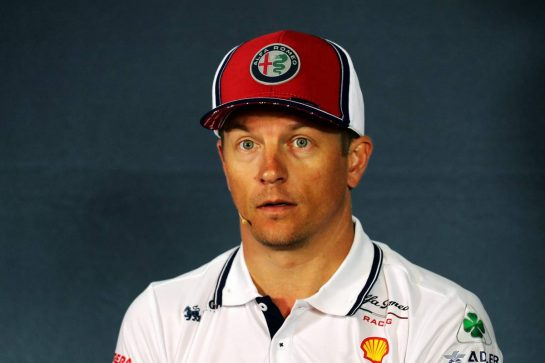 Kimi Raikkonen (FIN) Alfa Romeo Racing in the FIA Press Conference.