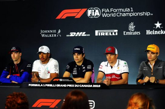 The FIA Press Conference (L to R): Daniil Kvyat (RUS) Scuderia Toro Rosso; Lewis Hamilton (GBR) Mercedes AMG F1; Lance Stroll (CDN) Racing Point F1 Team; Kimi Raikkonen (FIN) Alfa Romeo Racing; Lando Norris (GBR) McLaren. 06.06.2019. Formula 1 World Championship, Rd 7, Canadian Grand Prix, Montreal, Canada, Preparation Day. - www.xpbimages.com, EMail: requests@xpbimages.com - copy of publication required for printed pictures. Every used picture is fee-liable. © Copyright: Photo4 / XPB Images