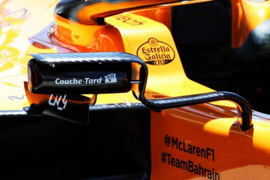 McLaren MCL34 wing mirror detail. 06.06.2019. Formula 1 World Championship, Rd 7, Canadian Grand Prix, Montreal, Canada, Preparation Day. - www.xpbimages.com, EMail: requests@xpbimages.com - copy of publication required for printed pictures. Every used picture is fee-liable. © Copyright: Batchelor / XPB Images