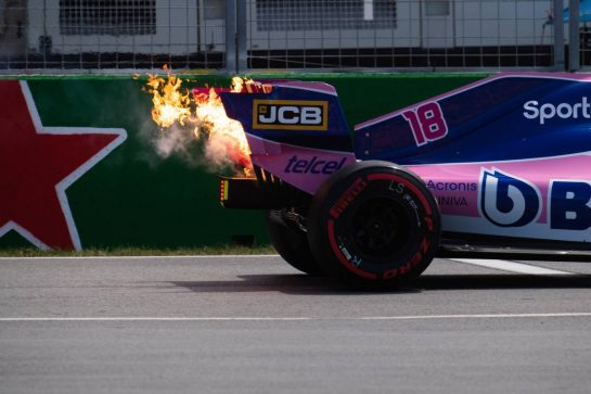 Fire from the Racing Point F1 Team RP19 of Lance Stroll (CDN).