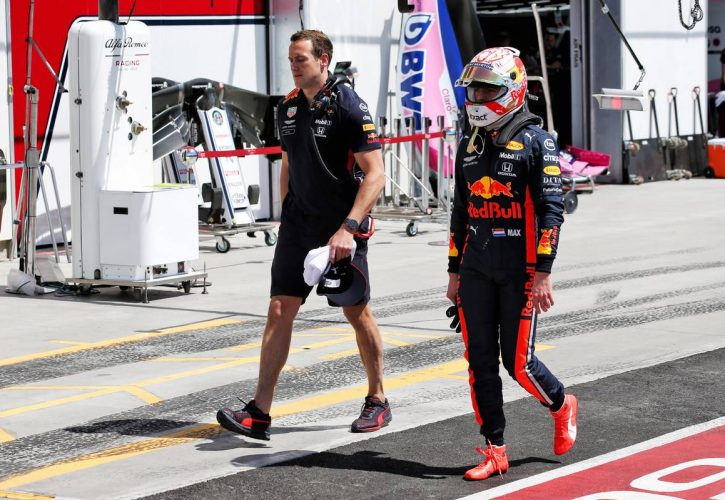 Max Verstappen (NLD) Red Bull Racing knocked out of Q2 in qualifying.