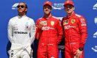 Qualifying top three in parc ferme (L to R): Lewis Hamilton (GBR) Mercedes AMG F1, second; Sebastian Vettel (GER) Ferrari, pole position; Charles Leclerc (MON) Ferrari, third.