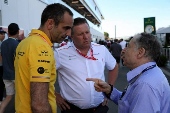 (L to R): Cyril Abiteboul (FRA) Renault Sport F1 Managing Director with Zak Brown (USA) McLaren Executive Director and Jean Todt (FRA) FIA President. 08.06.2019. Formula 1 World Championship, Rd 7, Canadian Grand Prix, Montreal, Canada, Qualifying Day. - www.xpbimages.com, EMail: requests@xpbimages.com - copy of publication required for printed pictures. Every used picture is fee-liable. © Copyright: Batchelor / XPB Images