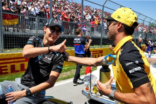 (L to R): George Russell (GBR) Williams Racing with Daniel Ricciardo (AUS) Renault F1 Team on the drivers parade. 09.06.2019. Formula 1 World Championship, Rd 7, Canadian Grand Prix, Montreal, Canada, Race Day. - www.xpbimages.com, EMail: requests@xpbimages.com - copy of publication required for printed pictures. Every used picture is fee-liable. © Copyright: Batchelor / XPB Images