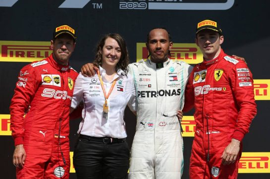 1st place Lewis Hamilton (GBR) Mercedes AMG F1 W10 with 2nd place Sebastian Vettel (GER) Ferrari SF90 and 3rd place Charles Leclerc (MON) Ferrari SF90. 09.06.2019. Formula 1 World Championship, Rd 7, Canadian Grand Prix, Montreal, Canada, Race Day. - www.xpbimages.com, EMail: requests@xpbimages.com - copy of publication required for printed pictures. Every used picture is fee-liable. © Copyright: Batchelor / XPB Images