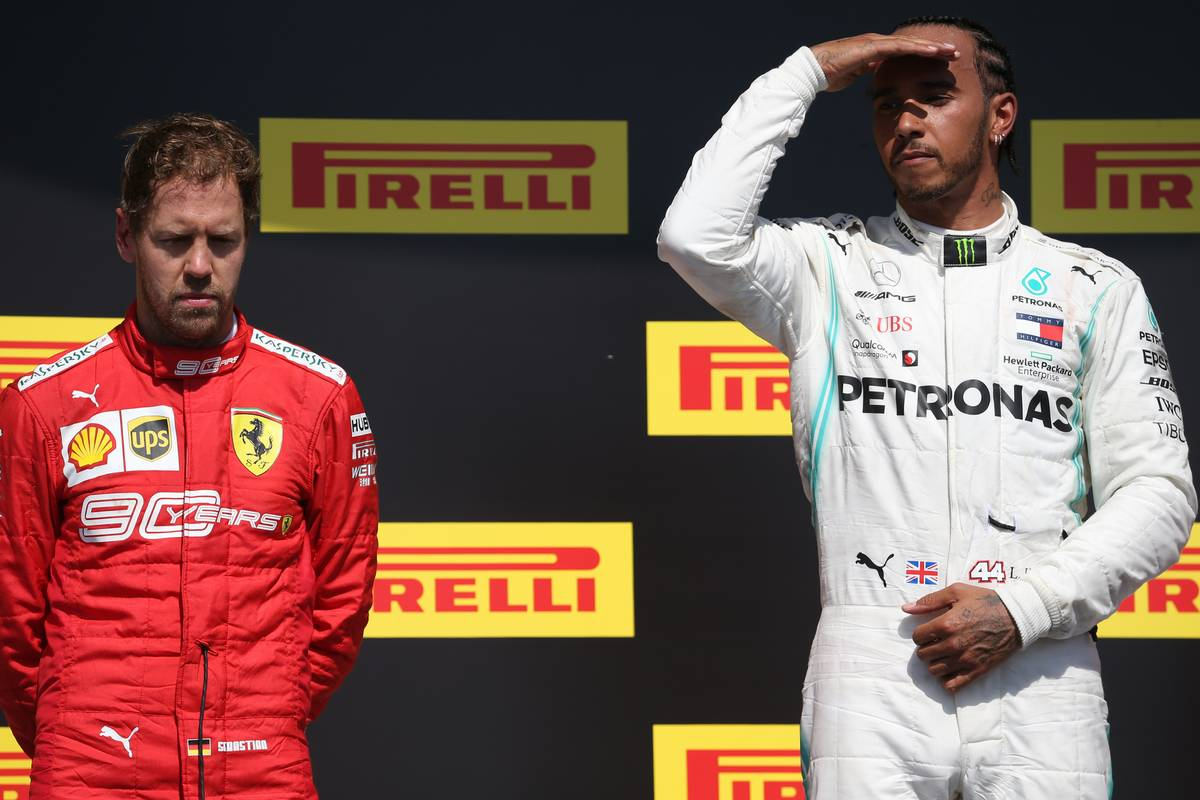1st place Lewis Hamilton (GBR) Mercedes AMG F1 W10 with 2nd place Sebastian Vettel (GER) Ferrari SF90.