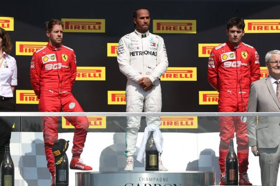1st place Lewis Hamilton (GBR) Mercedes AMG F1 W10 with 2nd place Sebastian Vettel (GER) Ferrari SF90 and 3rd place Charles Leclerc (MON) Ferrari SF90.