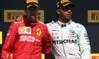 1st place Lewis Hamilton (GBR) Mercedes AMG F1 W10 with 2nd place Sebastian Vettel (GER) Ferrari SF90. 09.06.2019.