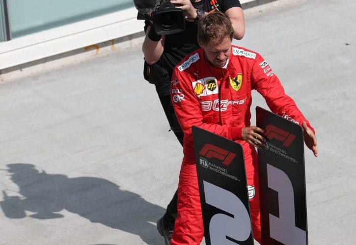 Sebastian Vettel (GER) Ferrari SF90 moves the 1st and 2nd place boards. 09.06.2019.