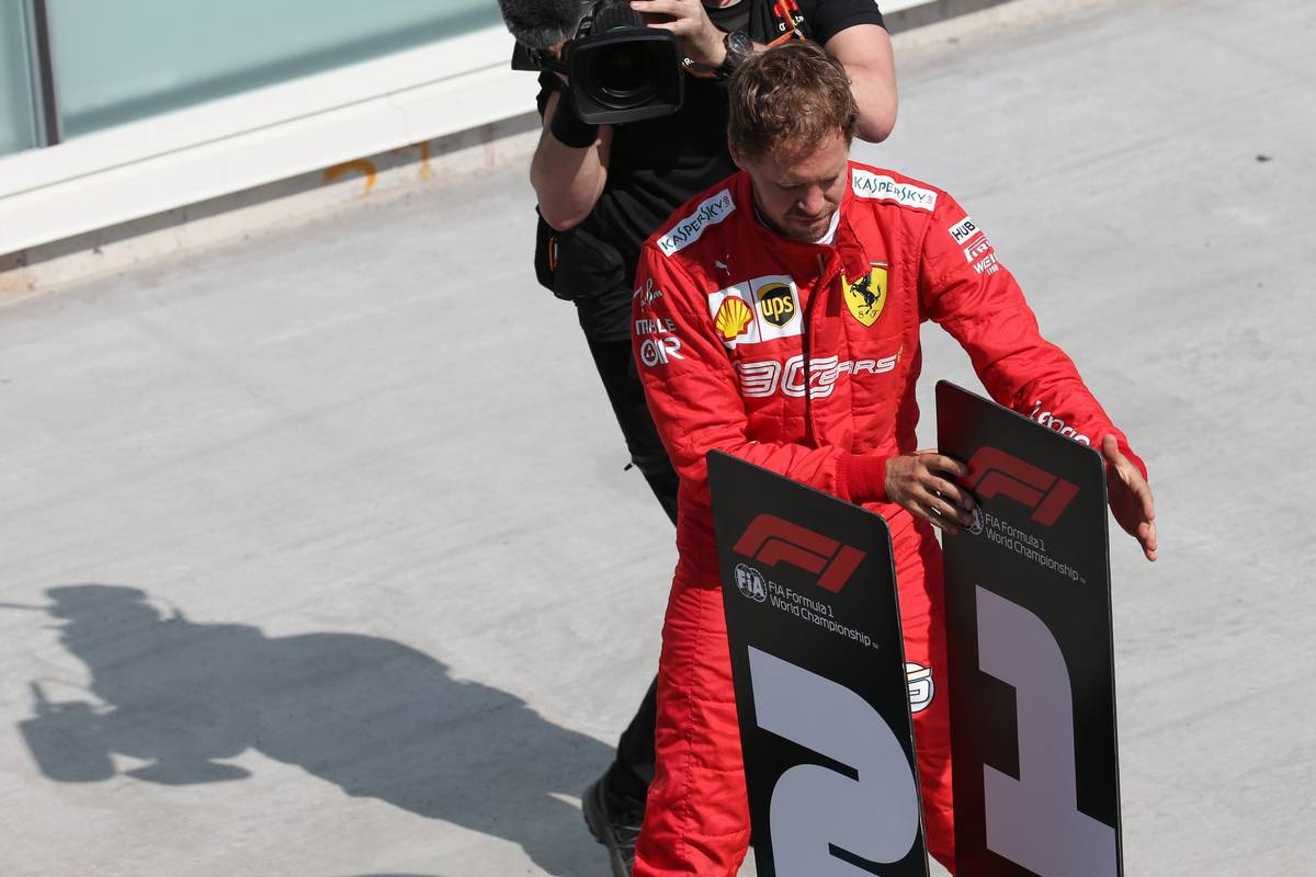 Sebastian Vettel (GER) Ferrari SF90 moves the 1st and 2nd place boards. 09.06.2019.