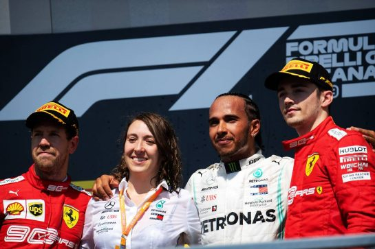 The podium (L to R): Sebastian Vettel (GER) Ferrari second; Marga Torres Diez, Mercedes AMG F1 Power Unit Engineer; Lewis Hamilton (GBR) Mercedes AMG F1, race winner; Charles Leclerc (MON) Ferrari, third. 09.06.2019. Formula 1 World Championship, Rd 7, Canadian Grand Prix, Montreal, Canada, Race Day. - www.xpbimages.com, EMail: requests@xpbimages.com - copy of publication required for printed pictures. Every used picture is fee-liable. © Copyright: Price / XPB Images