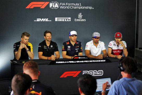 The FIA Press Conference (L to R): Nico Hulkenberg (GER) Renault F1 Team; Romain Grosjean (FRA) Haas F1 Team; Pierre Gasly (FRA) Red Bull Racing; Carlos Sainz Jr (ESP) McLaren; Antonio Giovinazzi (ITA) Alfa Romeo Racing. 20.06.2019. Formula 1 World Championship, Rd 8, French Grand Prix, Paul Ricard, France, Preparation Day. - www.xpbimages.com, EMail: requests@xpbimages.com - copy of publication required for printed pictures. Every used picture is fee-liable. © Copyright: Moy / XPB Images