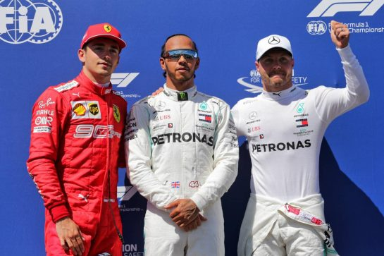 Qualifying top three in parc ferme (L to R): Valtteri Bottas (FIN) Mercedes AMG F1, second; Lewis Hamilton (GBR) Mercedes AMG F1, pole position; Charles Leclerc (MON) Ferrari, third.